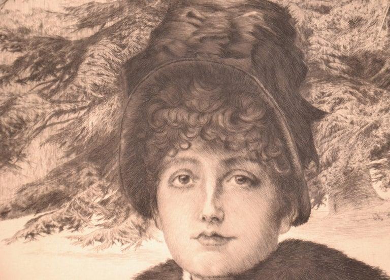 Promenade dans la Neige - Original Etching by J. Tissot - 1880 - Beige Figurative Print by James Tissot