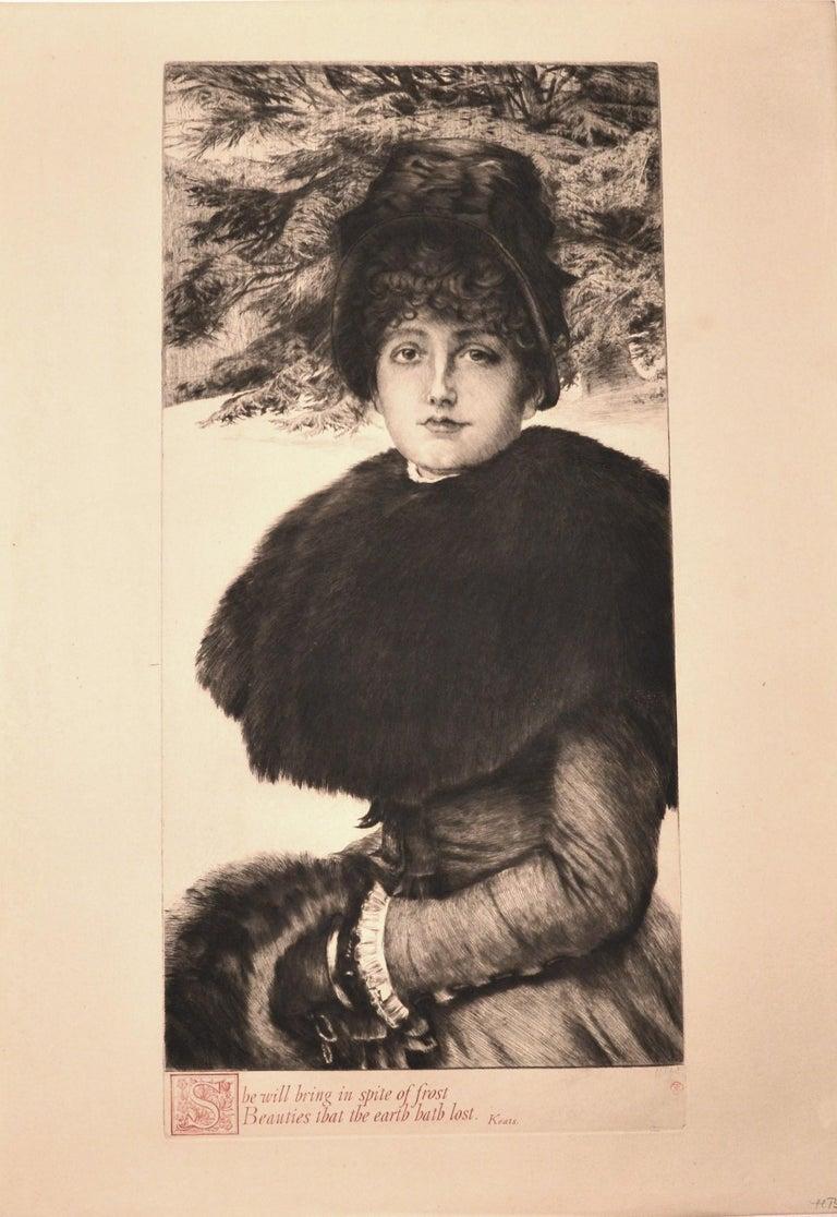 James Tissot Figurative Print - Promenade dans la Neige - Original Etching by J. Tissot - 1880