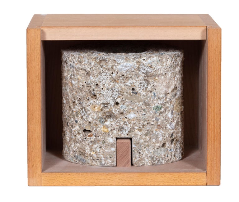 Artist:James Turrell  Title:Sky Space  Year: 2008 Medium:Conglomerate from the Austrian Mountain Mönschberg, with a wooden box Edition: 21/50, numbered on the nameplate, and in the display box Stone Size: 7 x 6 x 7 inches Box Size: 8 x 11 x 9