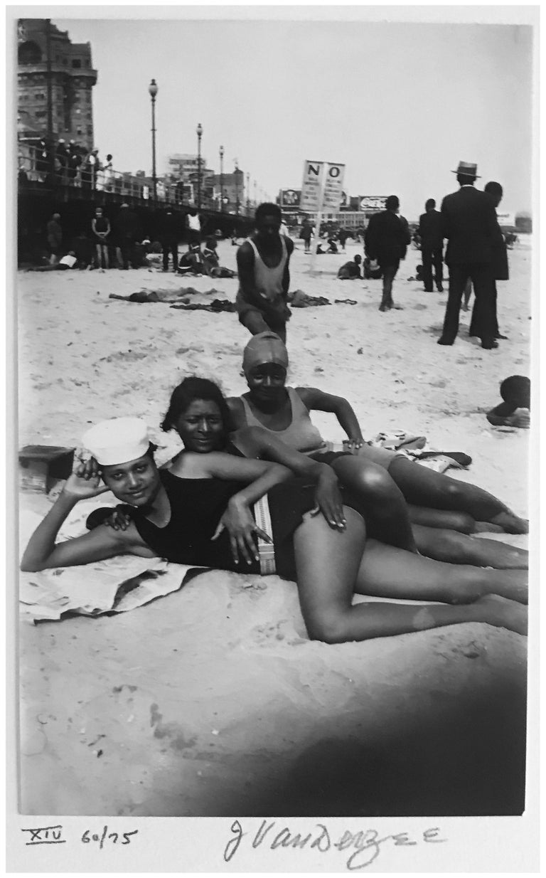 James Van Der Zee Black and White Photograph - Atlantic City, New Jersey, African American Portrait Photography at the Beach