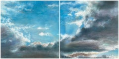 """""""Sky 55"""" Oil and Silver Painting"""