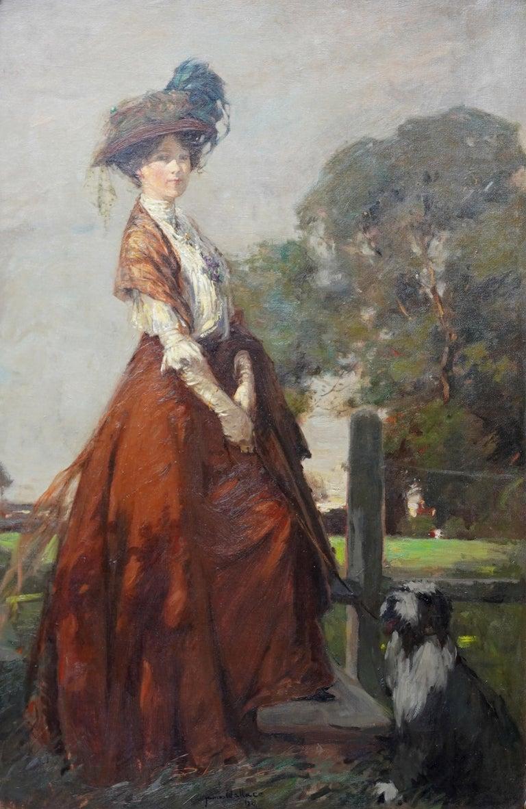 The Rendezvous - Scottish 1908 art portrait oil painting Elsie Viola Robinson  - Painting by James Wallace