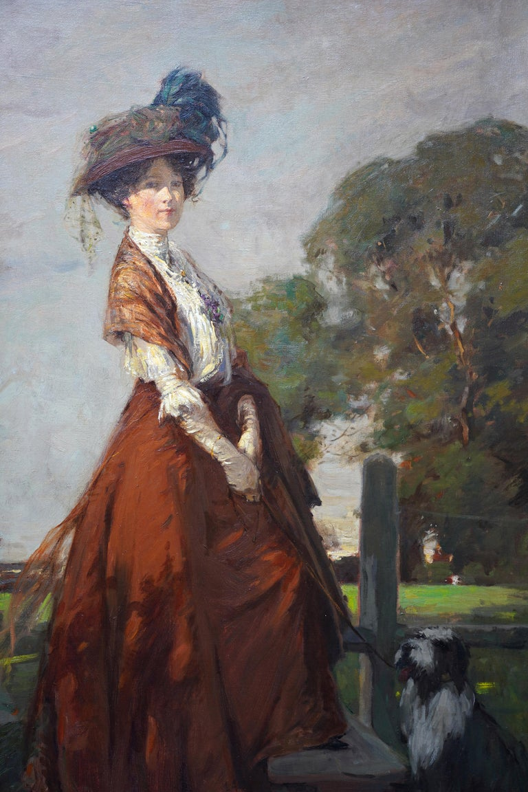 The Rendezvous - Scottish 1908 art portrait oil painting Elsie Viola Robinson  - Impressionist Painting by James Wallace