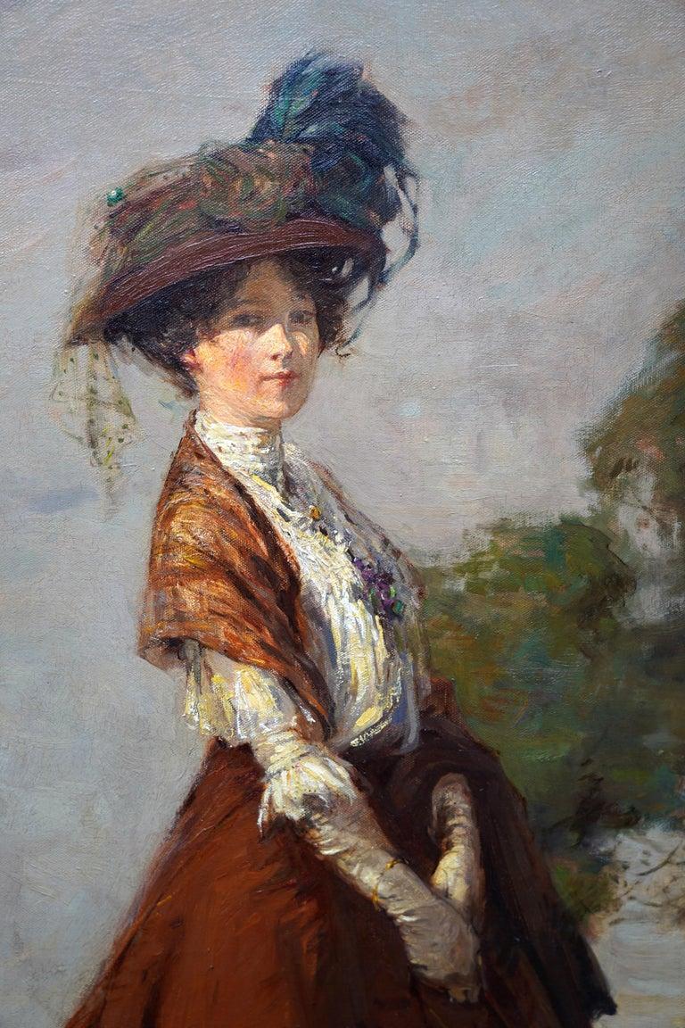 The Rendezvous - Scottish 1908 art portrait oil painting Elsie Viola Robinson  - Brown Portrait Painting by James Wallace