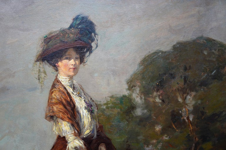 This stunning romantic exhibited Scottish Edwardian Impressionist portrait oil painting is by noted Scottish artist James Wallace. Painted in 1908 with excellent provenance, the brushwork and colouring are superb. The sitter is Elsie Viola Robinson,