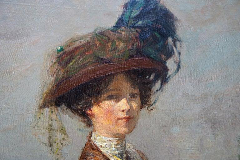 The Rendezvous - Scottish 1908 art portrait oil painting Elsie Viola Robinson  For Sale 1