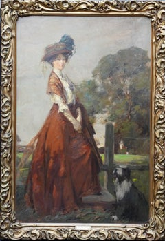 The Rendezvous - Scottish 1908 art portrait oil painting Elsie Viola Robinson