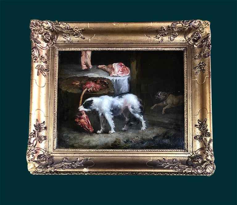 A Pair of 19th Century Oil on Canvas Dog Paintings of Hunting Hounds. For Sale 7