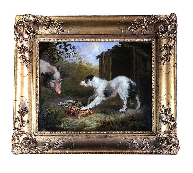A Pair of 19th Century Oil on Canvas Dog Paintings of Hunting Hounds. For Sale 2