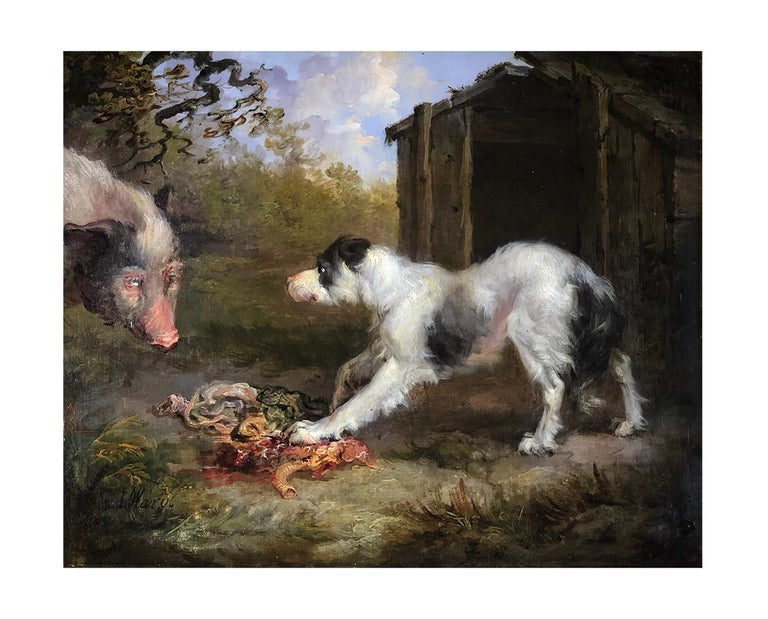 A Pair of 19th Century Oil on Canvas Dog Paintings of Hunting Hounds. For Sale 3