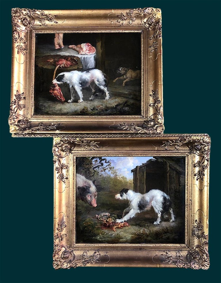 A Pair of 19th Century Oil on Canvas Dog Paintings of Hunting Hounds. For Sale 5
