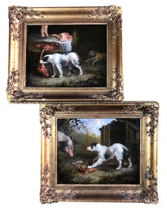 A Pair of 19th Century Oil on Canvas Dog Paintings of Hunting Hounds.