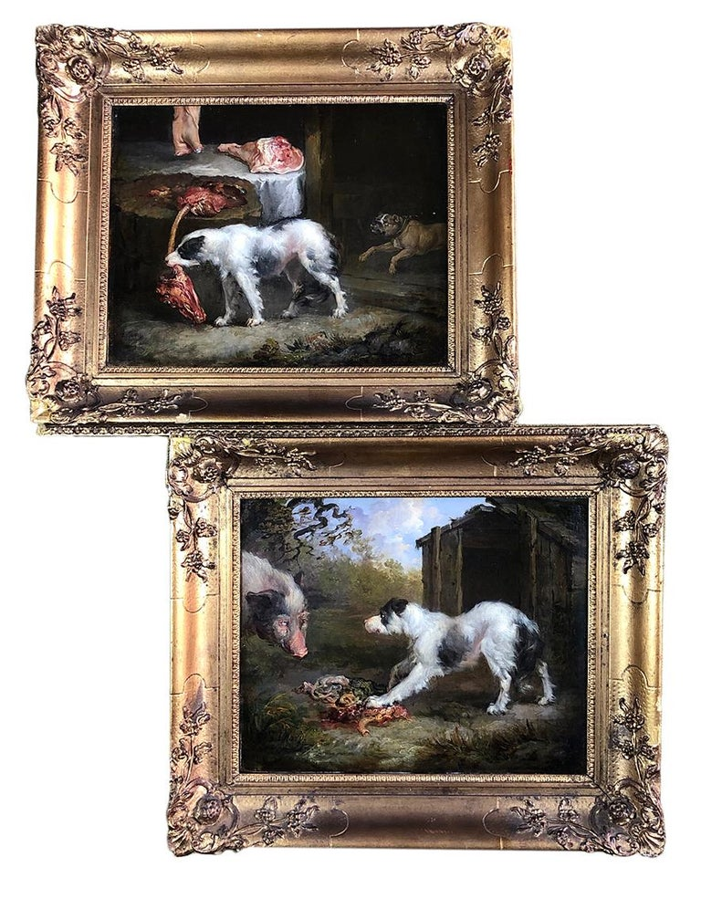 with a Wild Boar/A Dog Stealing Meat     Fine and rare pair of high quality, canine studies by the celebrated sporting artist James Ward (1769 -1859)  These lively paintings, both have a great depth of colour, and attention to light and shade.