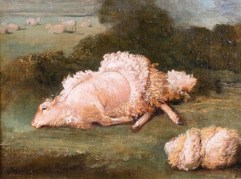 A Sheep And A Shorn Fleece, 18th Century For Sale 1