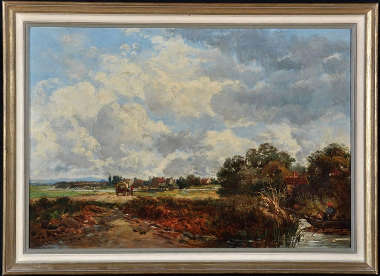 Victorian River Landscape Horse & Cart, signed oil painting - Painting by James Webb