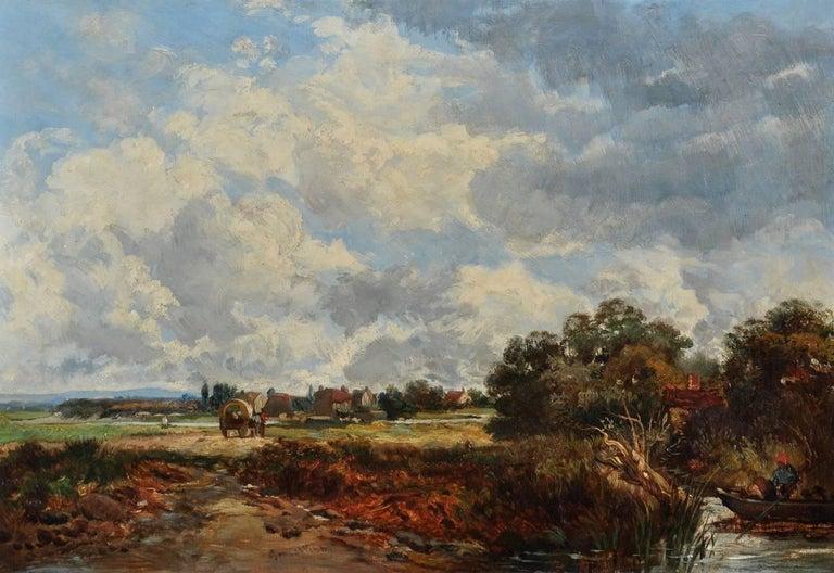 James Webb Landscape Painting - Victorian River Landscape Horse & Cart, signed oil painting