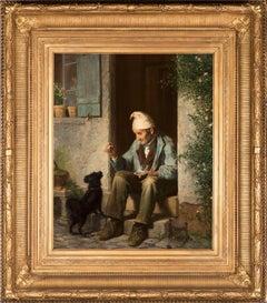 Old Man Feeding a Dog