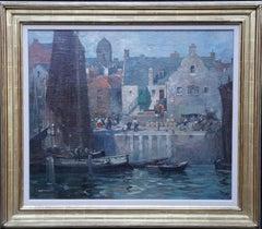 Fishing Boats at Eyemouth Harbour Scotland - Scottish Edwardian art oil painting
