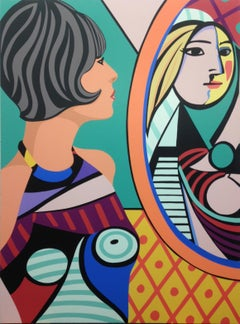 James Wolanin, Girl Before A Mirror 2020- Picasso, female pop figurative