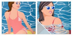 Summer Diptych (Swimmers, Water)