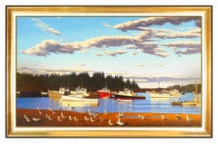 James Wolford Large Original Harbor Seascape Painting Oil On Canvas Signed Art