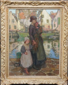 Mother and Child on Quayside - Scottish Impressionist art harbour oil painting