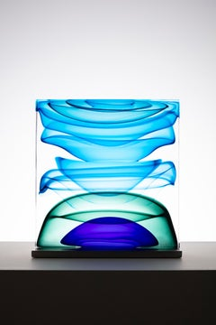 """""""Infusion Block in Blues and Green"""", Contemporary, Glass, Sculpture, Steel Base"""