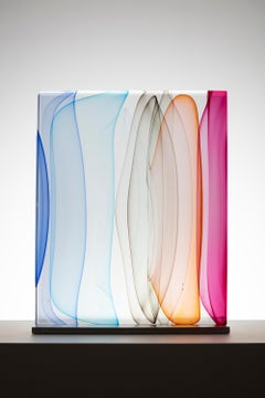 """""""Modulated Infusion Block in Blues, Amber and Ruby"""", Glass, Sculpture, Design"""