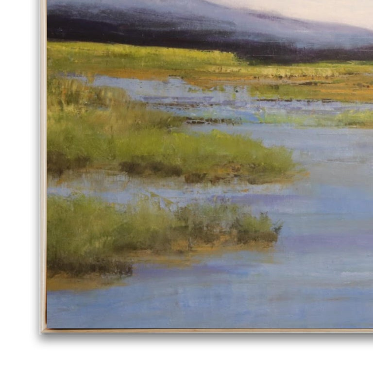 Waterflow - Gray Landscape Painting by Jamie Kirkland