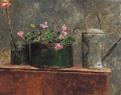 """Jamie Wyeth, """"Watering Can"""" limited edition print still life w pink flowers"""