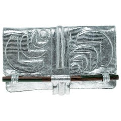 Jamin Puech Silver Leather Clutch