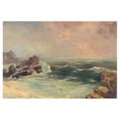Jan B. Pospisil, Oil on Canvas, Coastal Motif, Mid-20th C