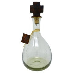 Jan Barboglio Blown Glass Decanter With Forged Iron Cross Topper