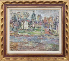 Pastel Toned Mid-Century Abstract Impressionist Polish Village Houses Landscape