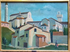 Coin d'Arezzo No 2, Tuscany, Large Mid Century View of The Cathedral and City