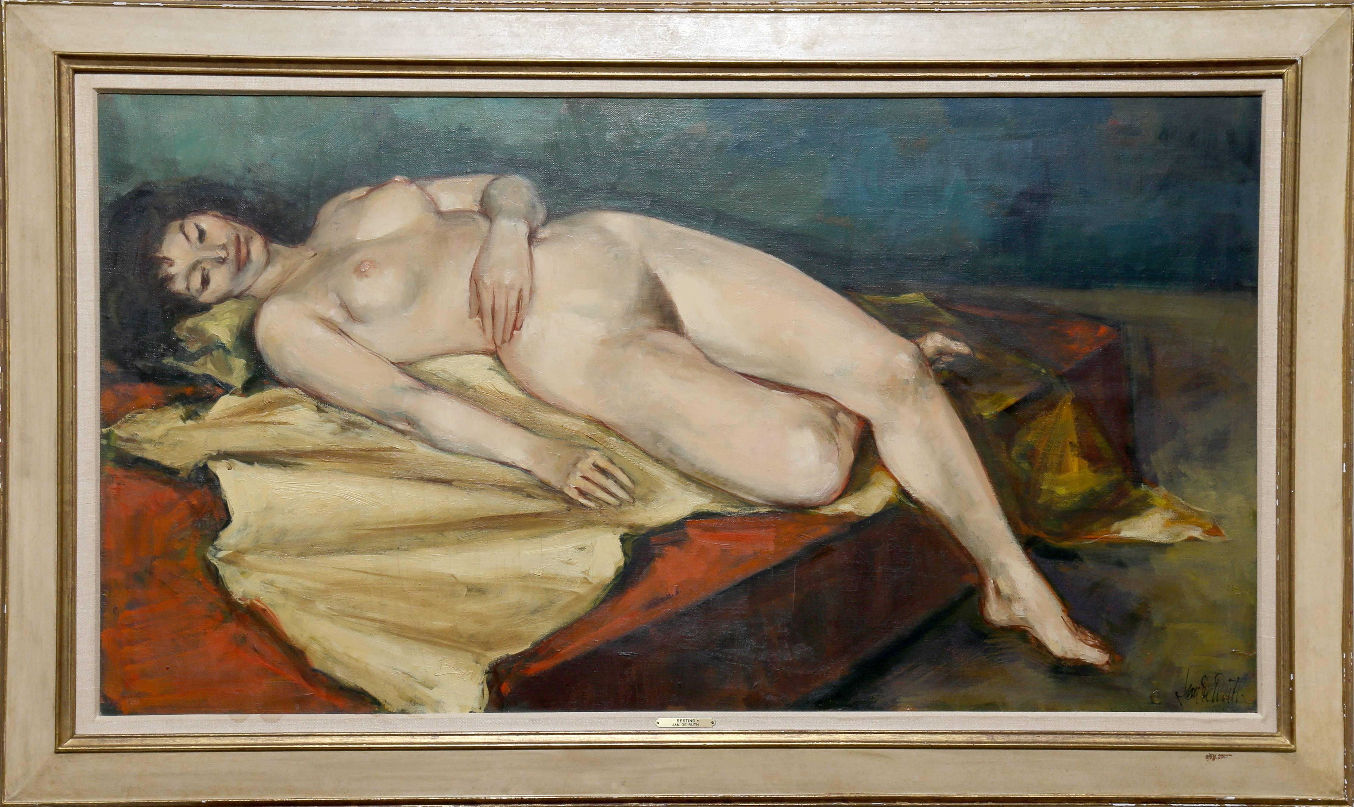 Resting Nude, Large Oil Painting by Jan De Ruth