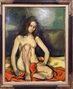 Seated Nude with Orange Blanket, Oil Painting by Jan de Ruth
