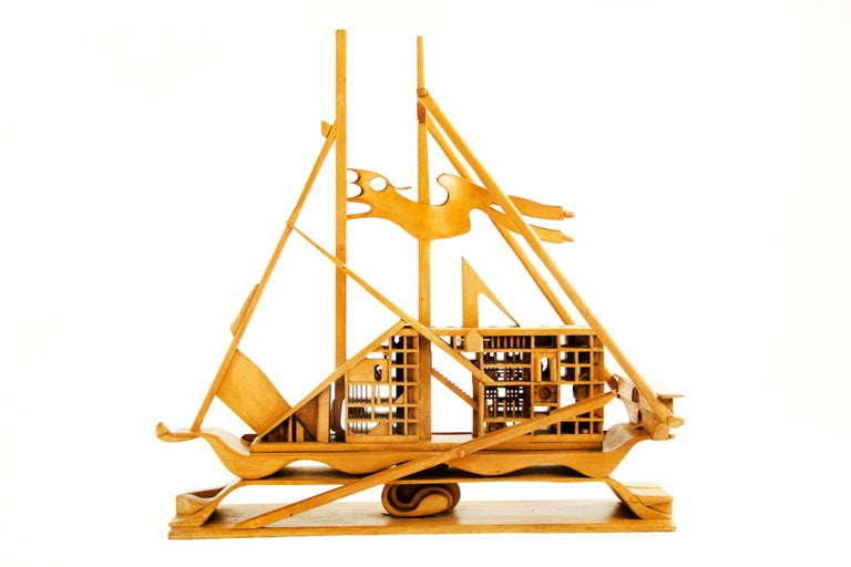 Mid-Century Modern Jan De Swart Monumental Sculptural Ship For Sale