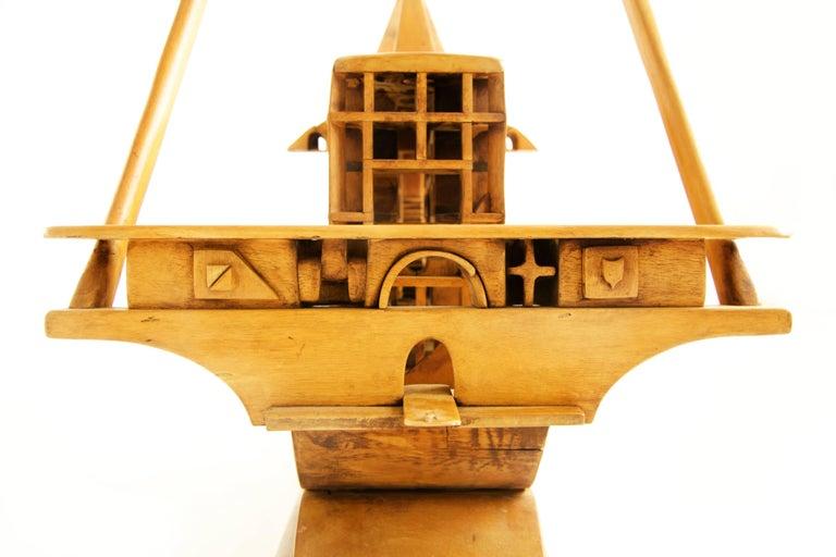Wood Jan De Swart Monumental Sculptural Ship For Sale