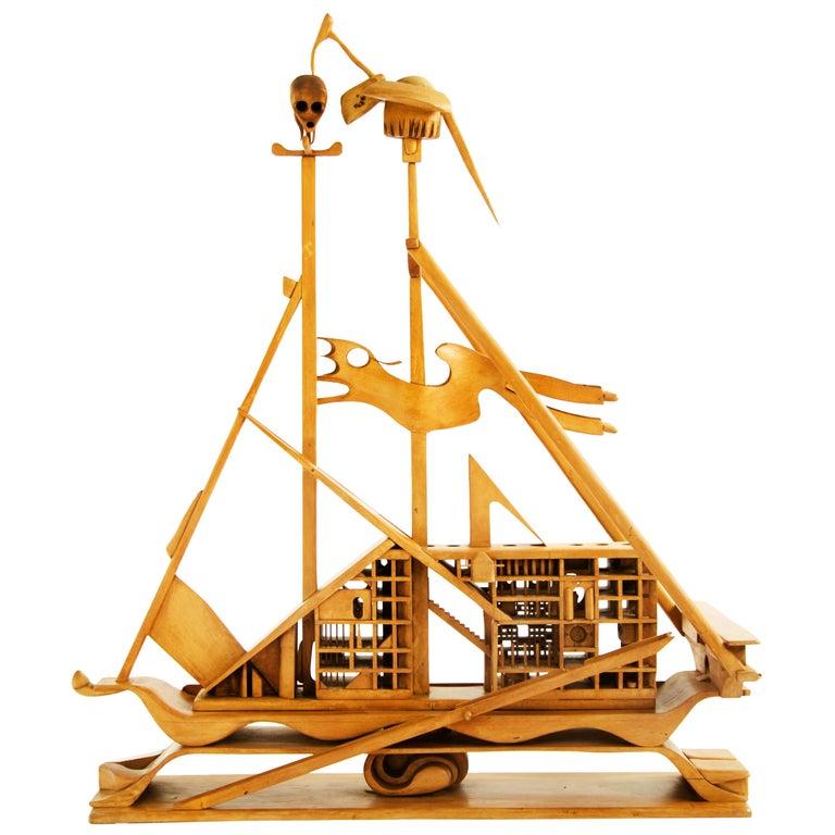 Jan De Swart Monumental Sculptural Ship For Sale