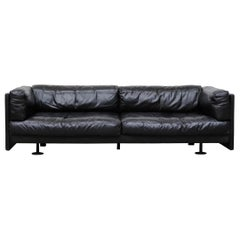 Jan des Bouvrie Black Leather Sofa for Young International