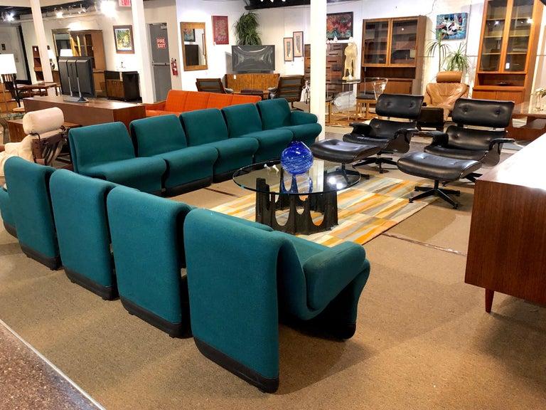 Jan Ekselius Style 10-Piece Modern Modular Teal Tweed Sectional Sofa Seating For Sale 6