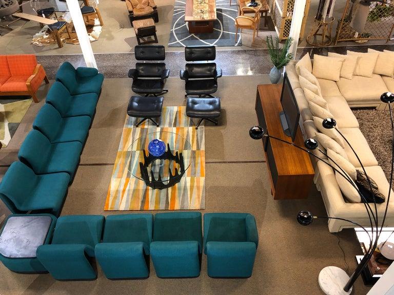 Jan Ekselius Style 10-Piece Modern Modular Teal Tweed Sectional Sofa Seating For Sale 7