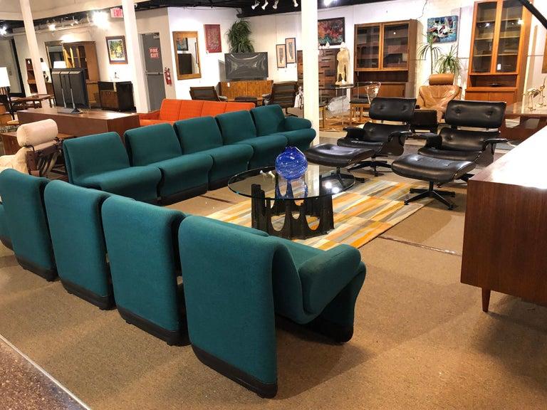 Jan Ekselius Style 10-Piece Modern Modular Teal Tweed Sectional Sofa Seating For Sale 8