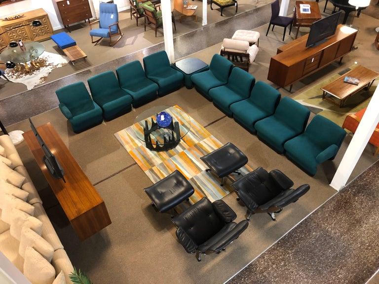 Jan Ekselius Style 10-Piece Modern Modular Teal Tweed Sectional Sofa Seating For Sale 9