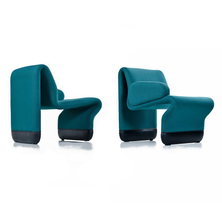 Mid-Century Modern Jan Ekselius Style 10-Piece Modern Modular Teal Tweed Sectional Sofa Seating For Sale