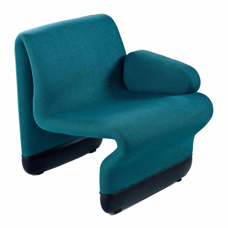 American Jan Ekselius Style 10-Piece Modern Modular Teal Tweed Sectional Sofa Seating For Sale