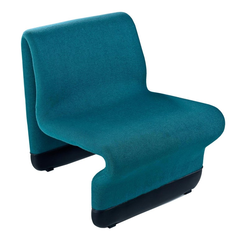Jan Ekselius Style 10-Piece Modern Modular Teal Tweed Sectional Sofa Seating In Good Condition For Sale In Saint Petersburg, FL
