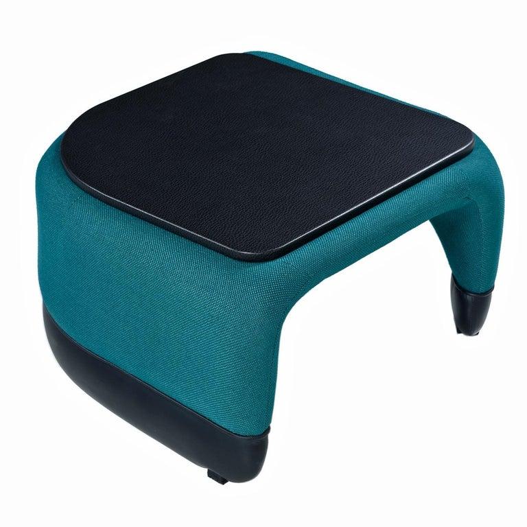 Fabric Jan Ekselius Style 10-Piece Modern Modular Teal Tweed Sectional Sofa Seating For Sale