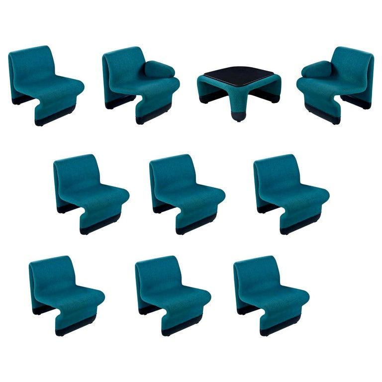 Jan Ekselius Style 10-Piece Modern Modular Teal Tweed Sectional Sofa Seating For Sale